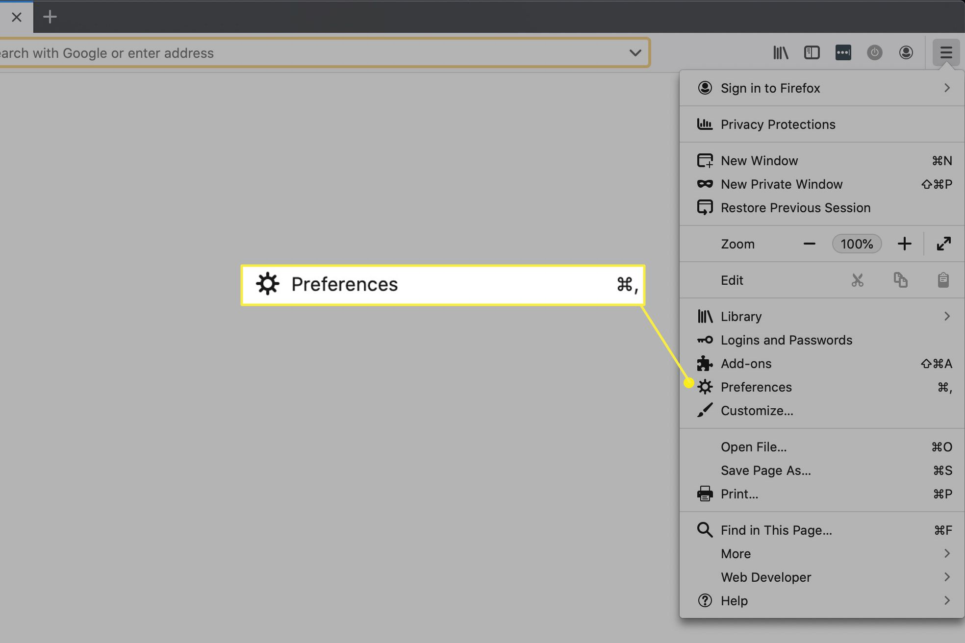 Firefox preferences