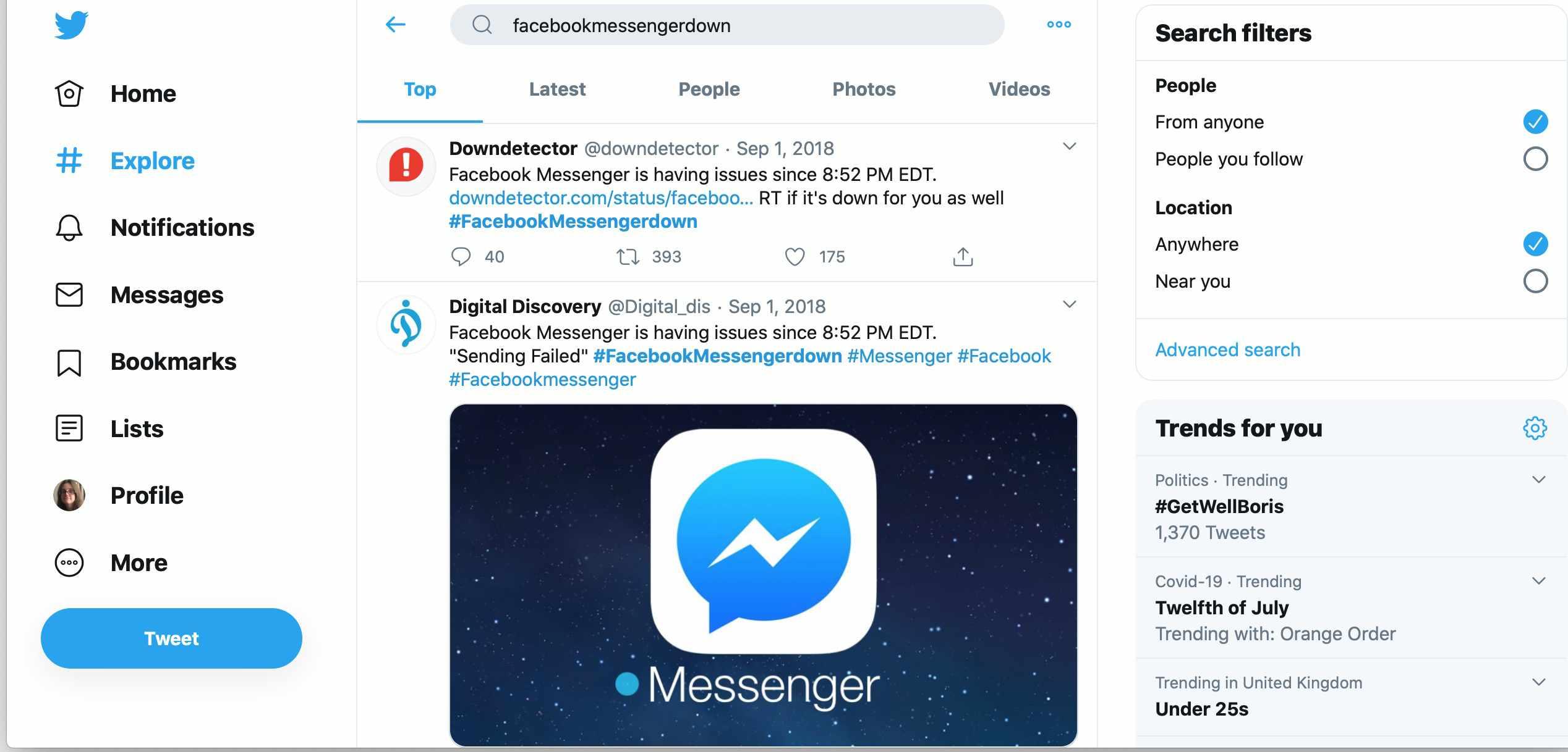 Twitter search for #facebookmessengerdown