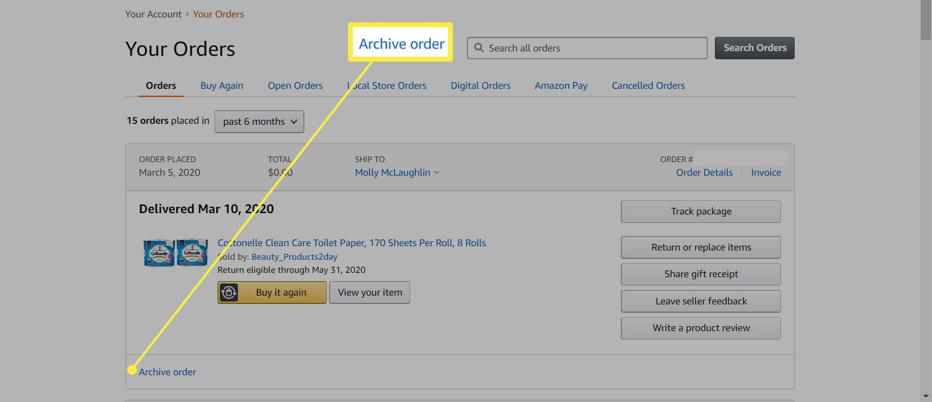 Archiving an order on Amazon.