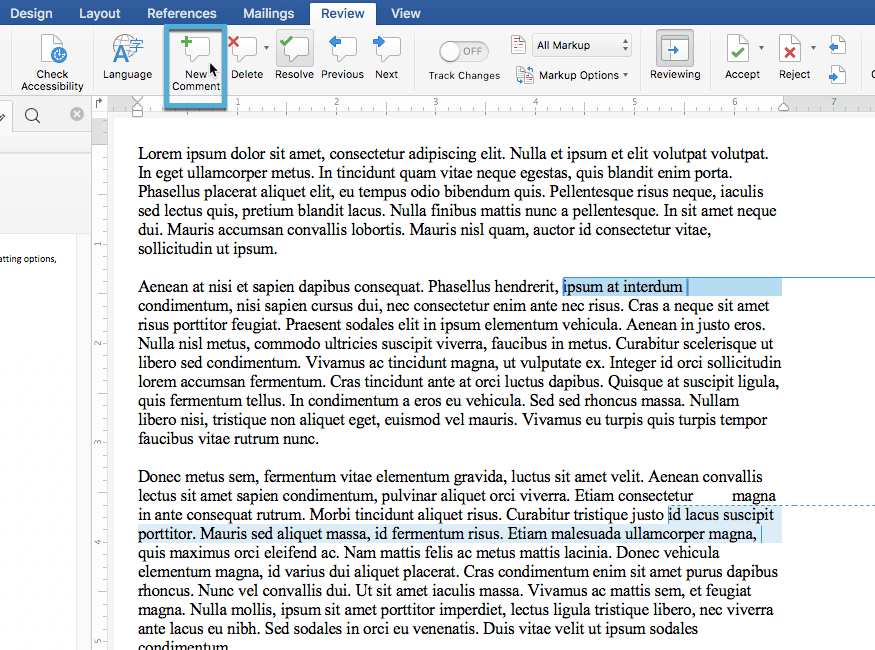 New comment button in Word 2016
