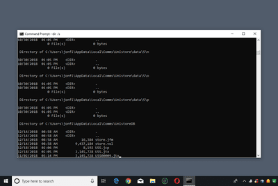 Screenshot of a Windows 10 Command Prompt window