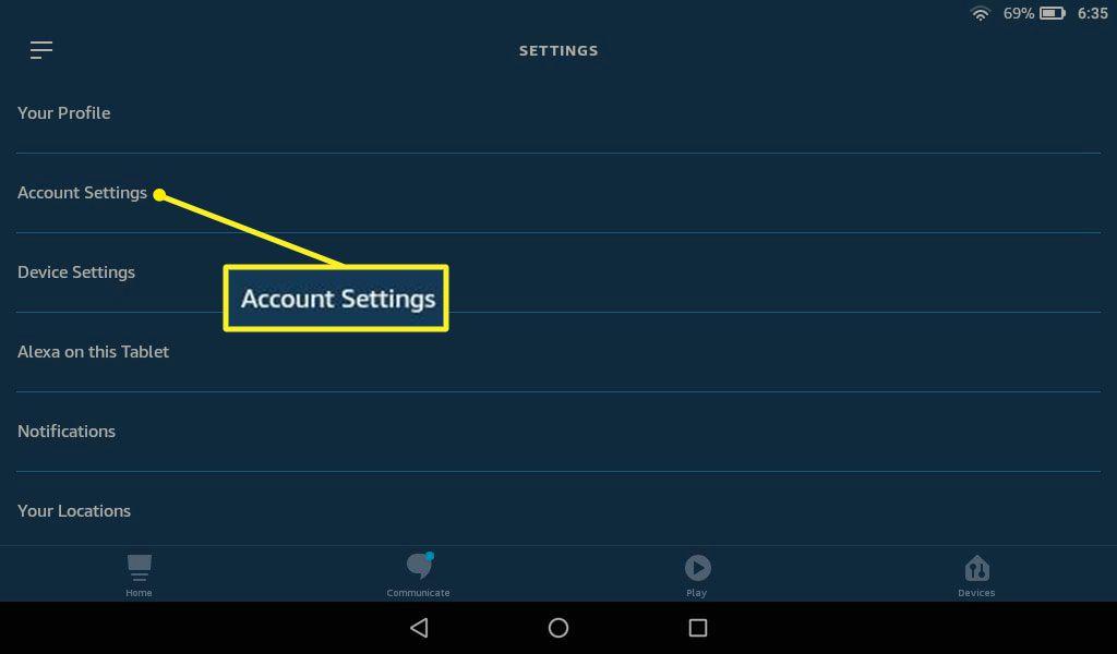 Alexa app with Account Settings highlighted