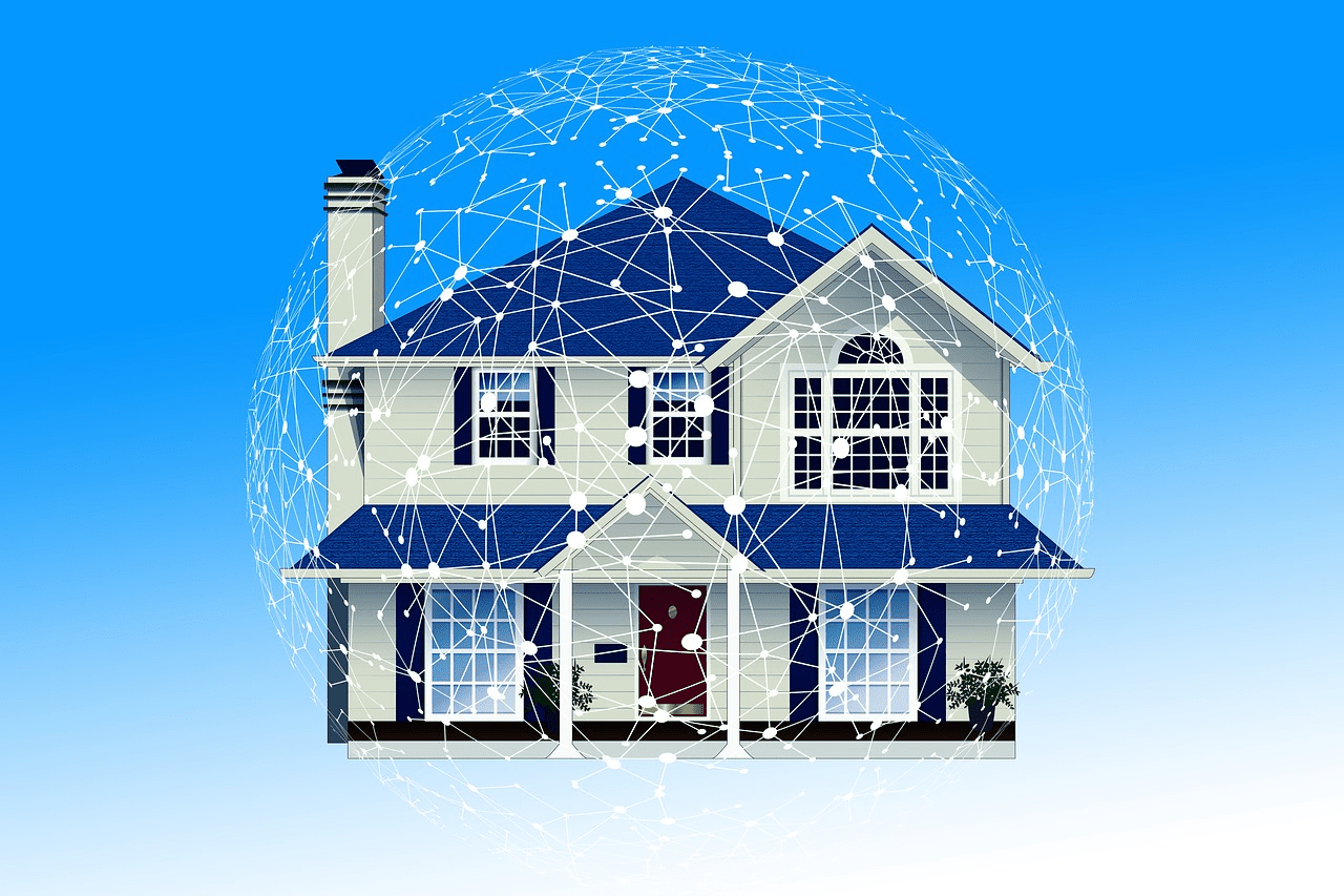 Image of a home protected by a smart home network.