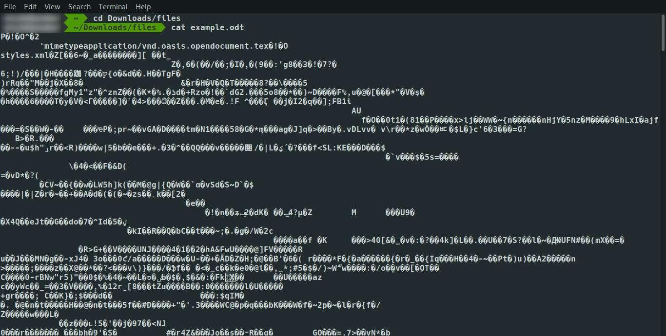 Linux cat odt file