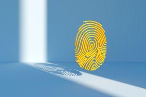A yellow 3D fingerprint on a blue background.