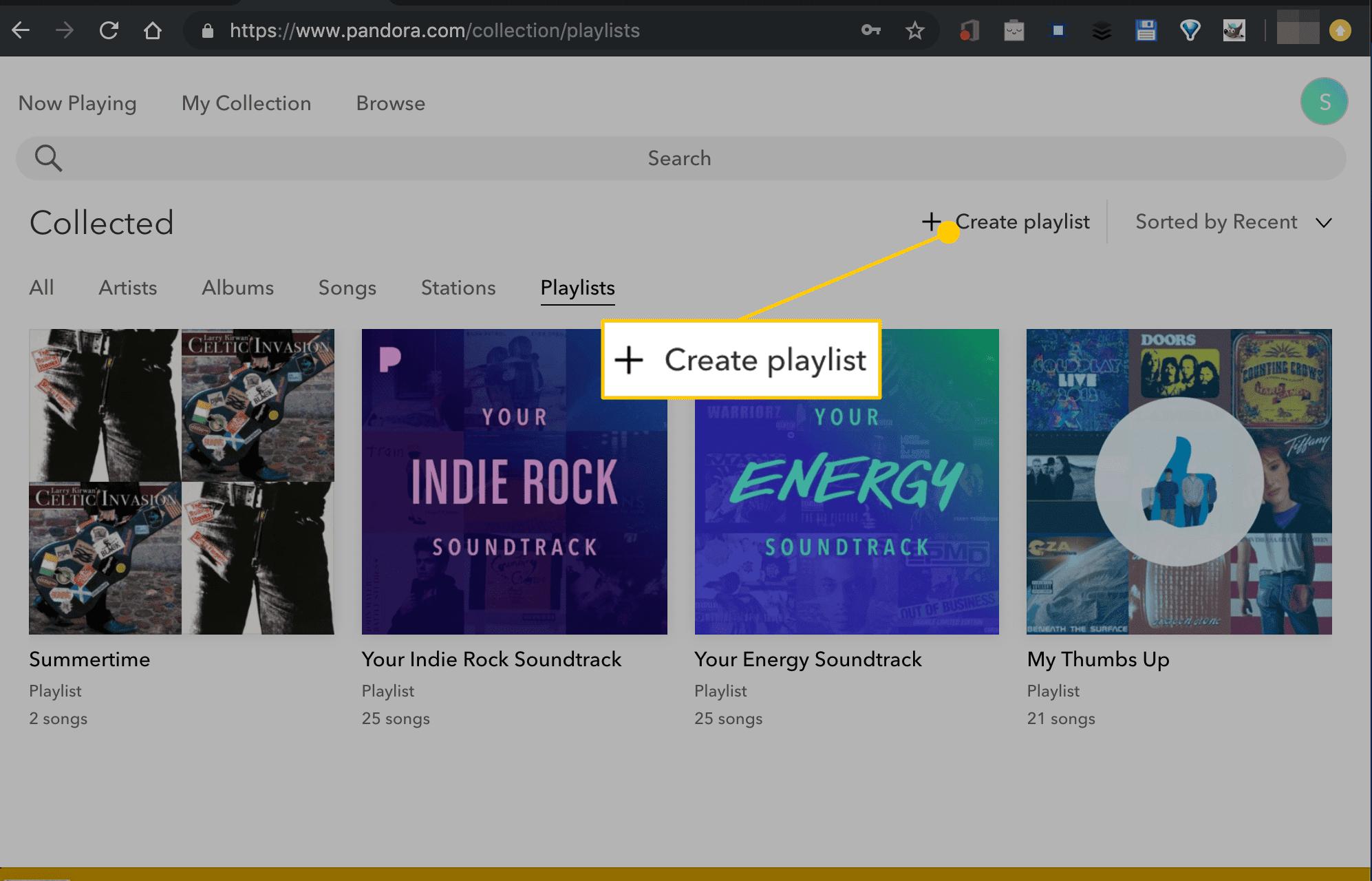 Create Playlist button in Pandora on the web