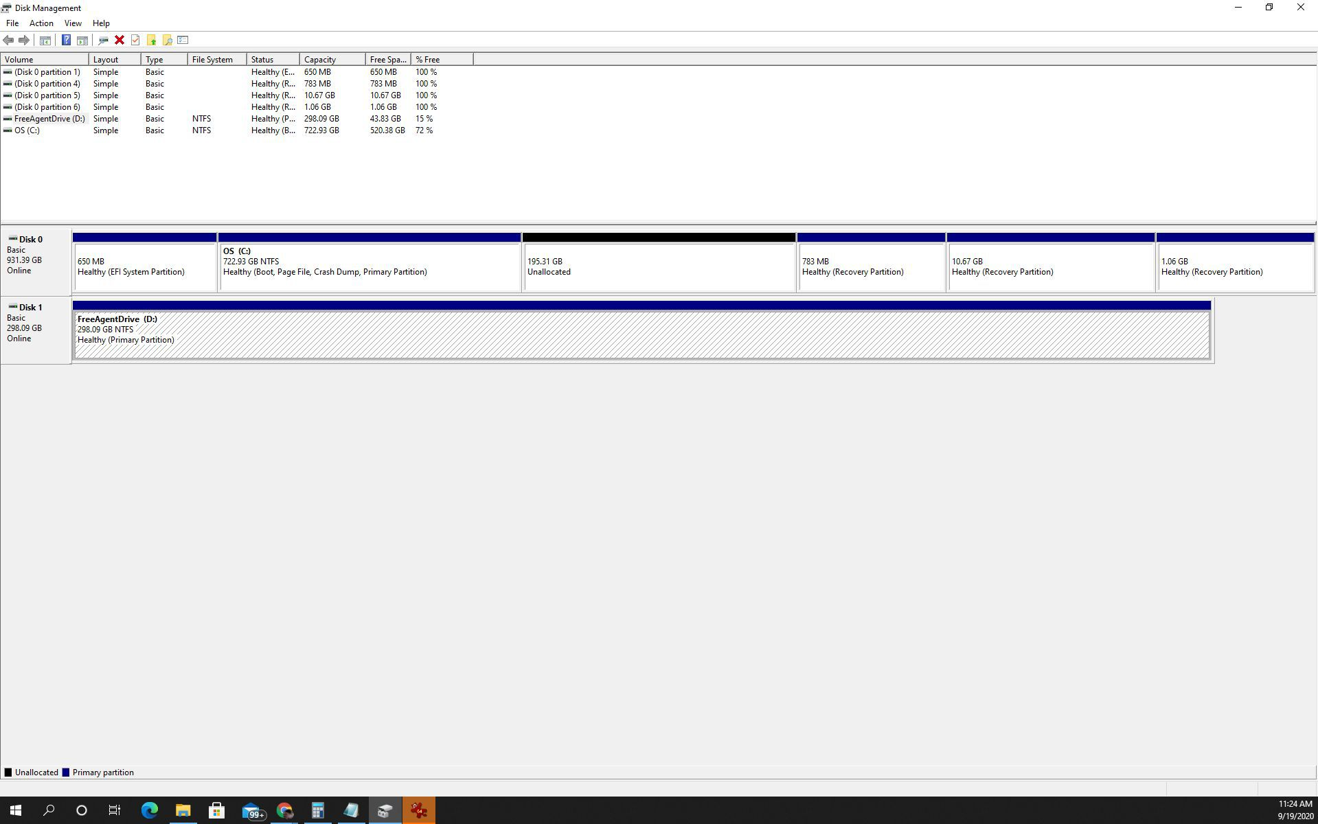 Screenshot of formatting new hard drive