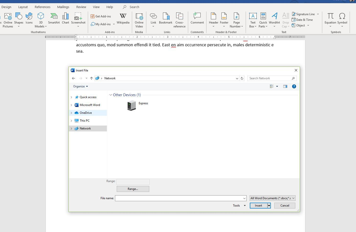 Insert Text or Data From a Document in a Word Document