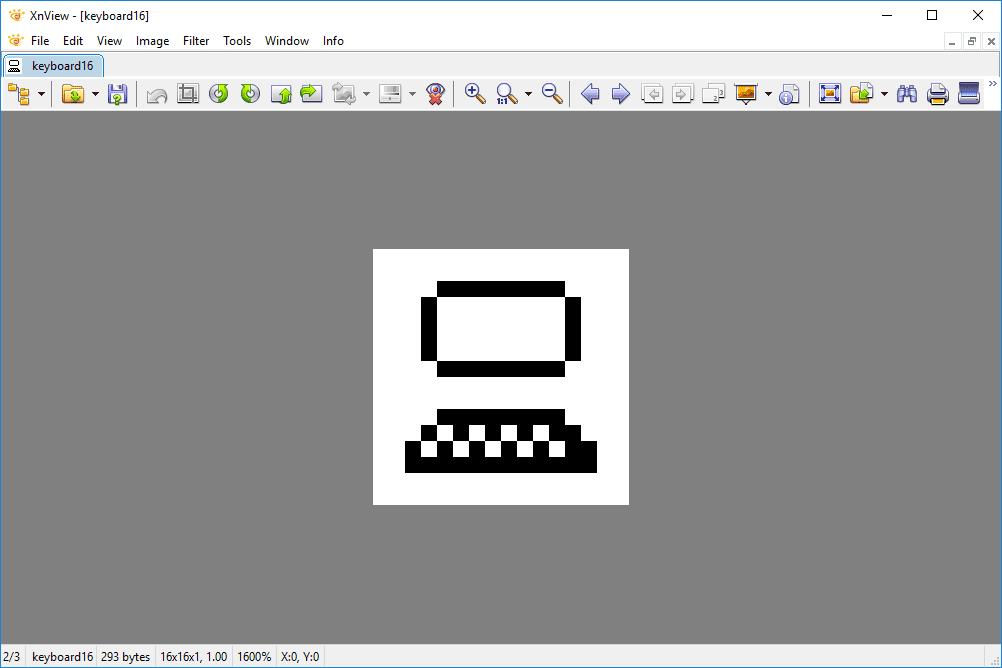 XBM keyboard file open in XnView