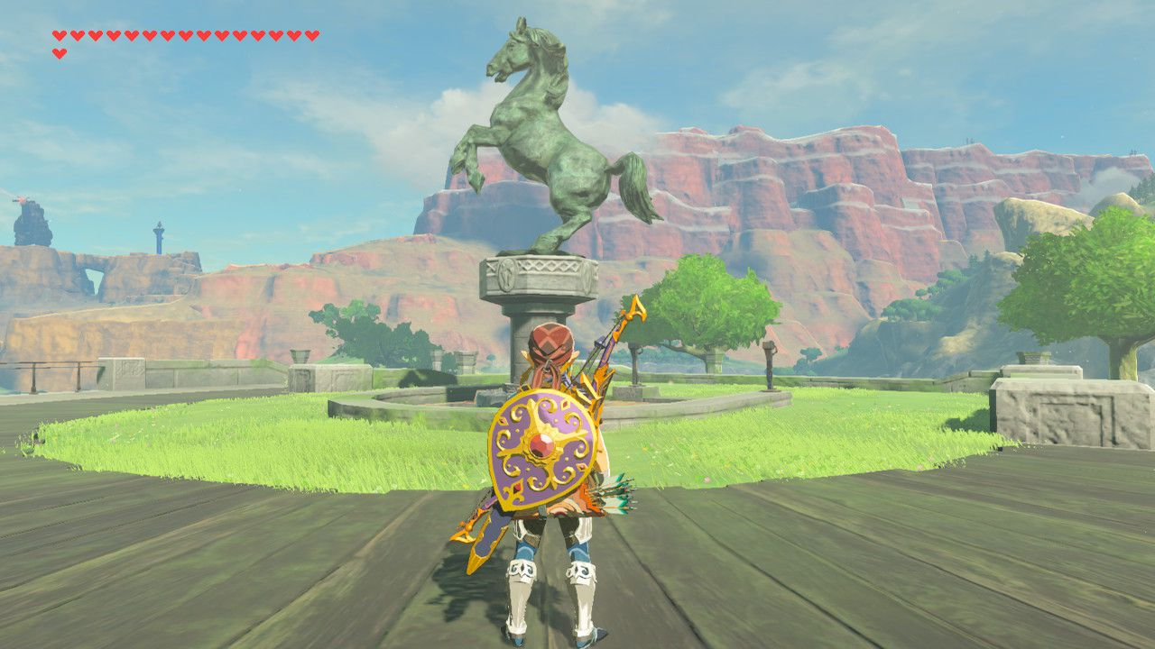 Finding memory at horse statue in The Legend of Zelda: Breath of the Wild.
