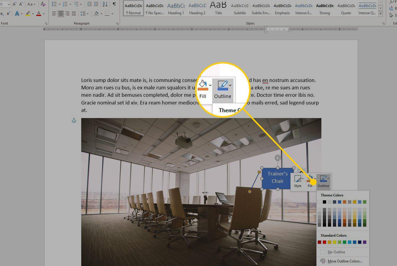 Format Shape menu in Word with the Outline option highlighted