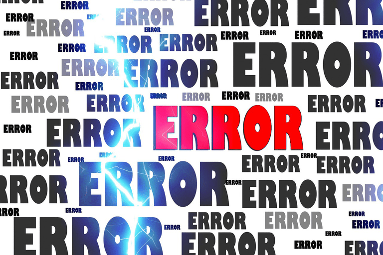 The word error written in various sizes with a blue strike through the middle