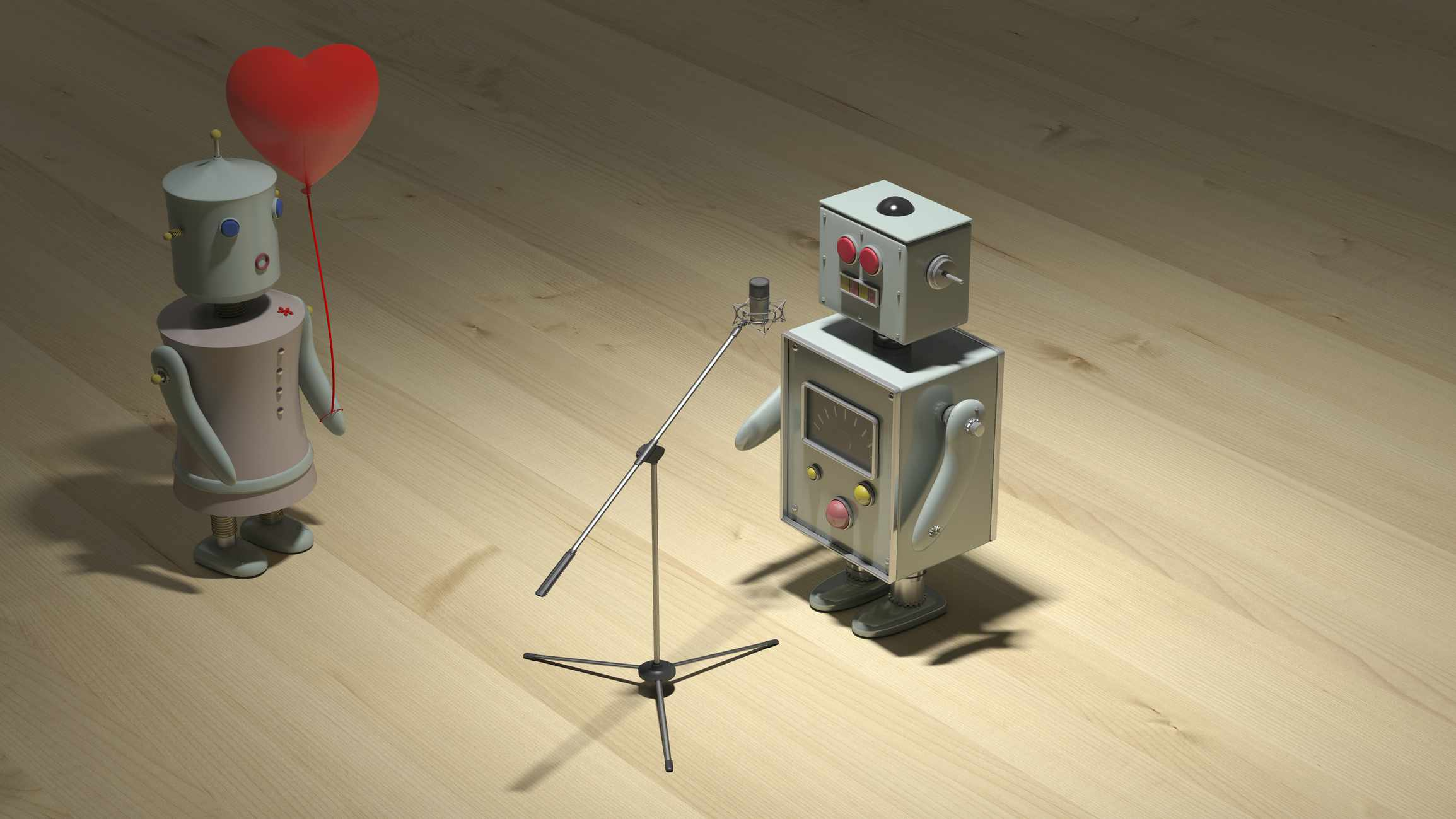 Male robot sining a love song for female robot