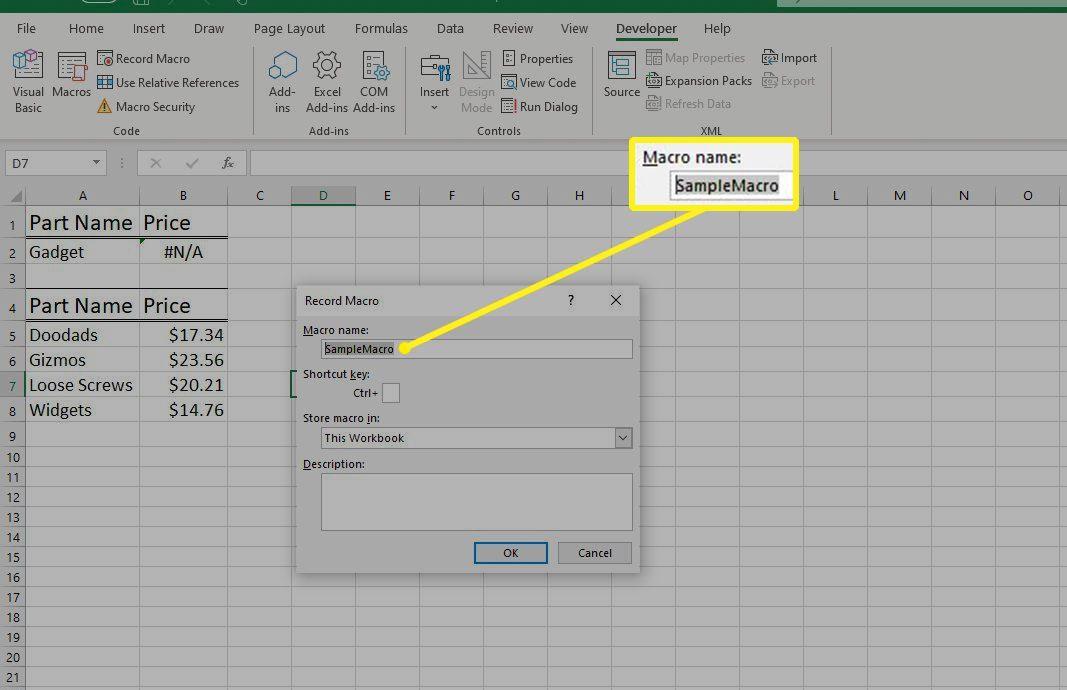 Macro name field in Excel