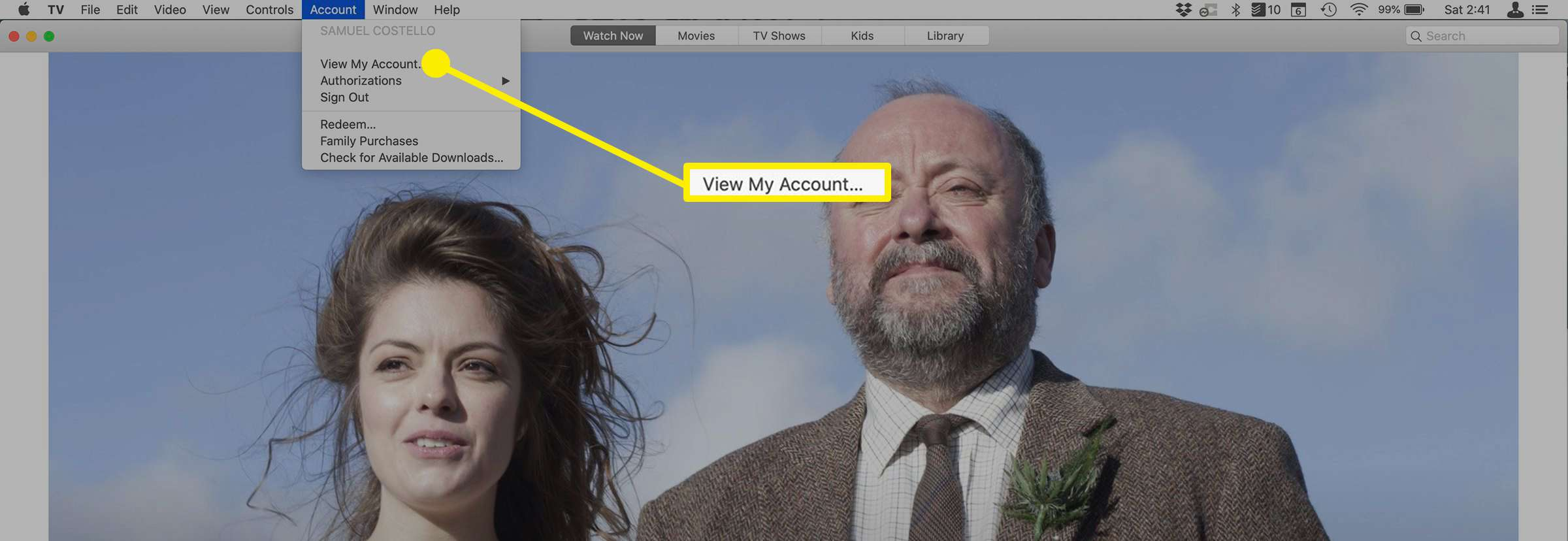 The View My Account option on Apple TV Plus on Mac.