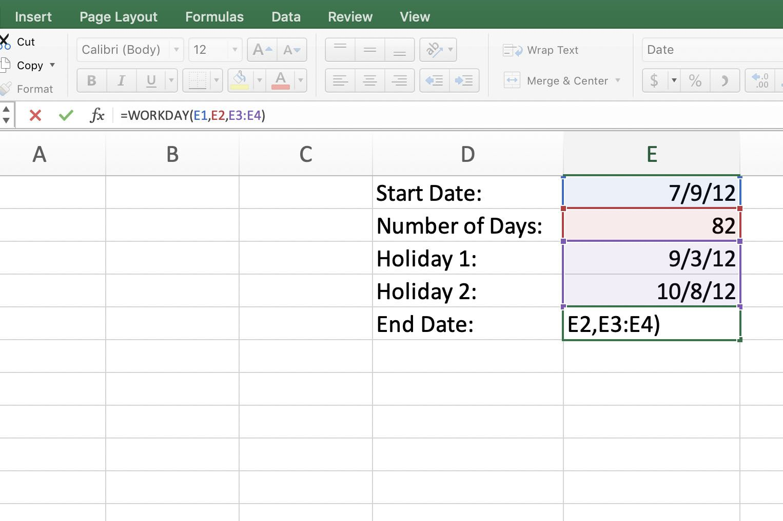 Excel WORKDAY Function: Find Project Start and End Dates