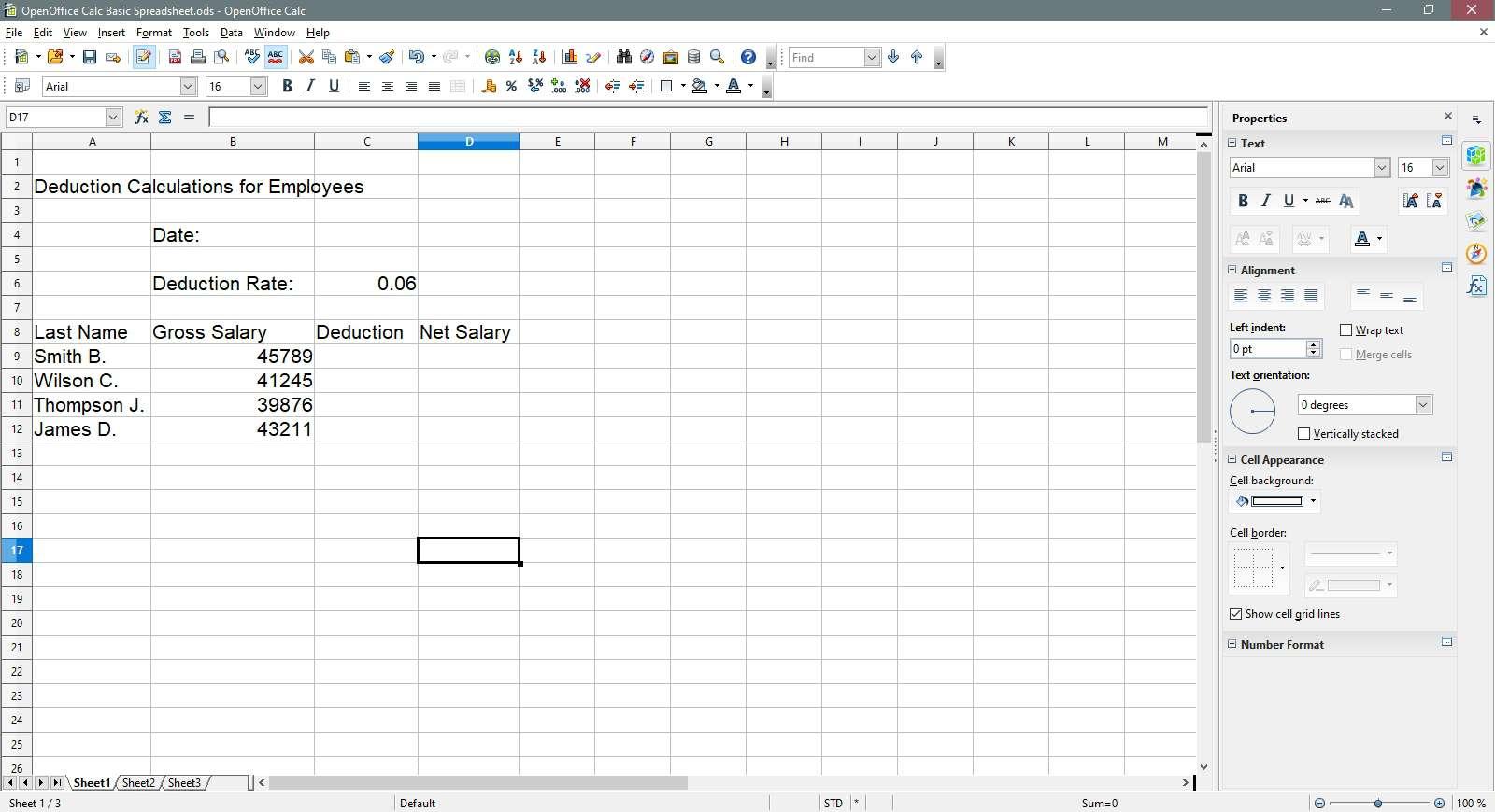 An OpenOffice Calc spreadsheet.