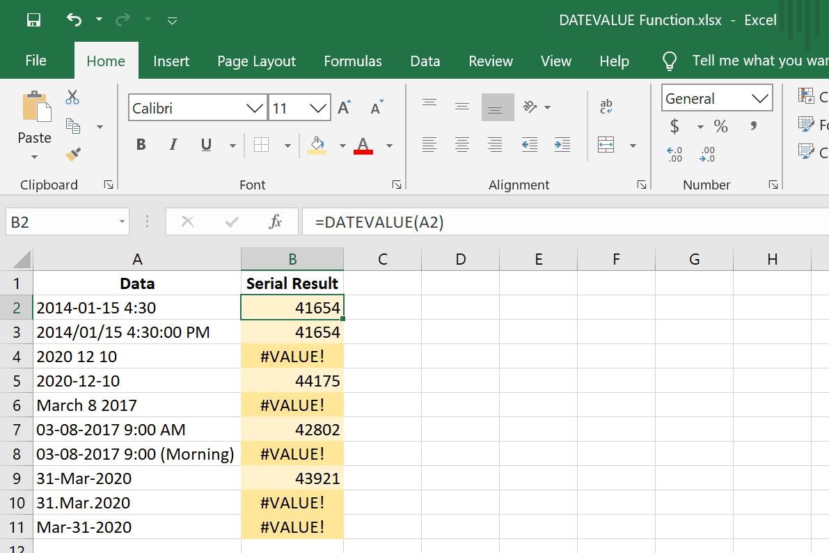 DATEVALUE function errors in Excel