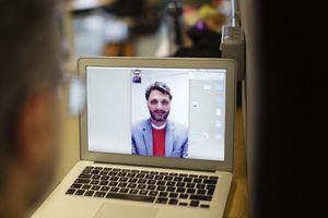 Skype call on a laptop