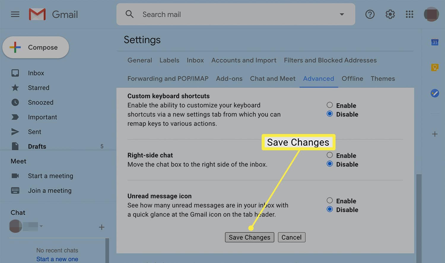 Save changes option for settings changes in Gmail