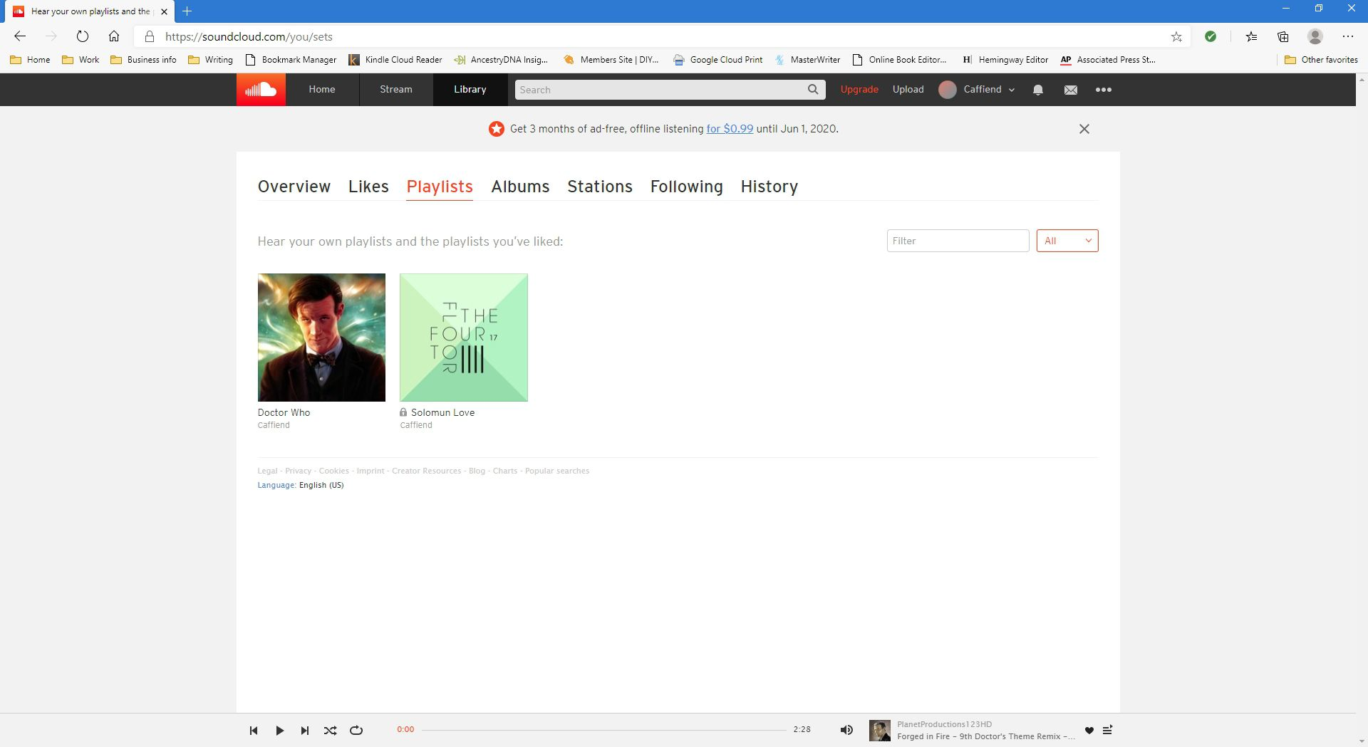 Playlists displayed in SoundCloud website.