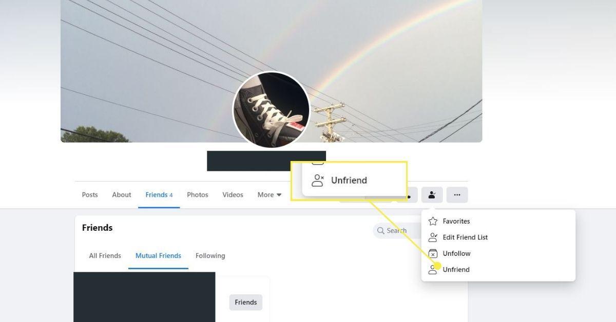 Unfriend option on Facebook