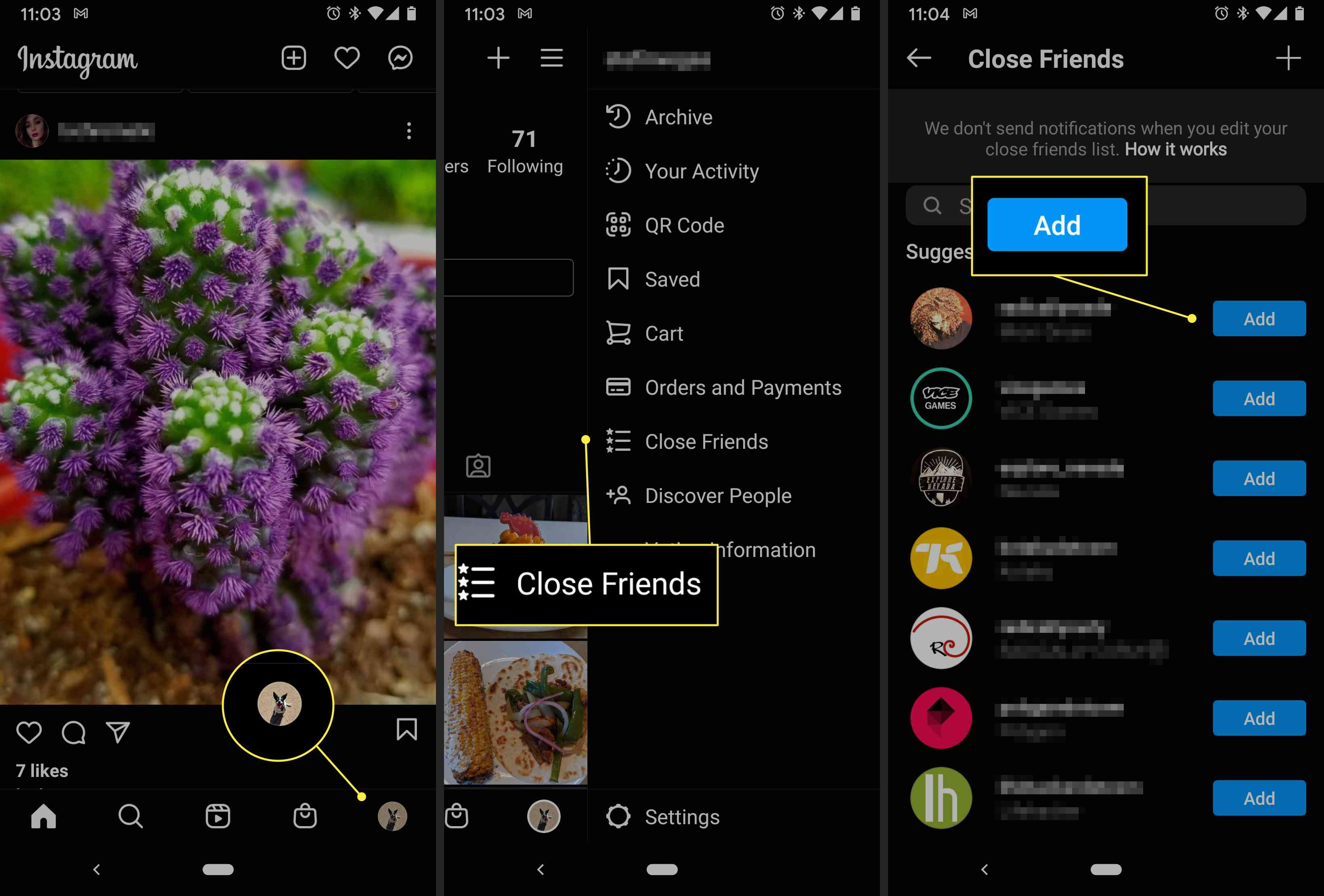 An Instagram user accesses their Close Friends list