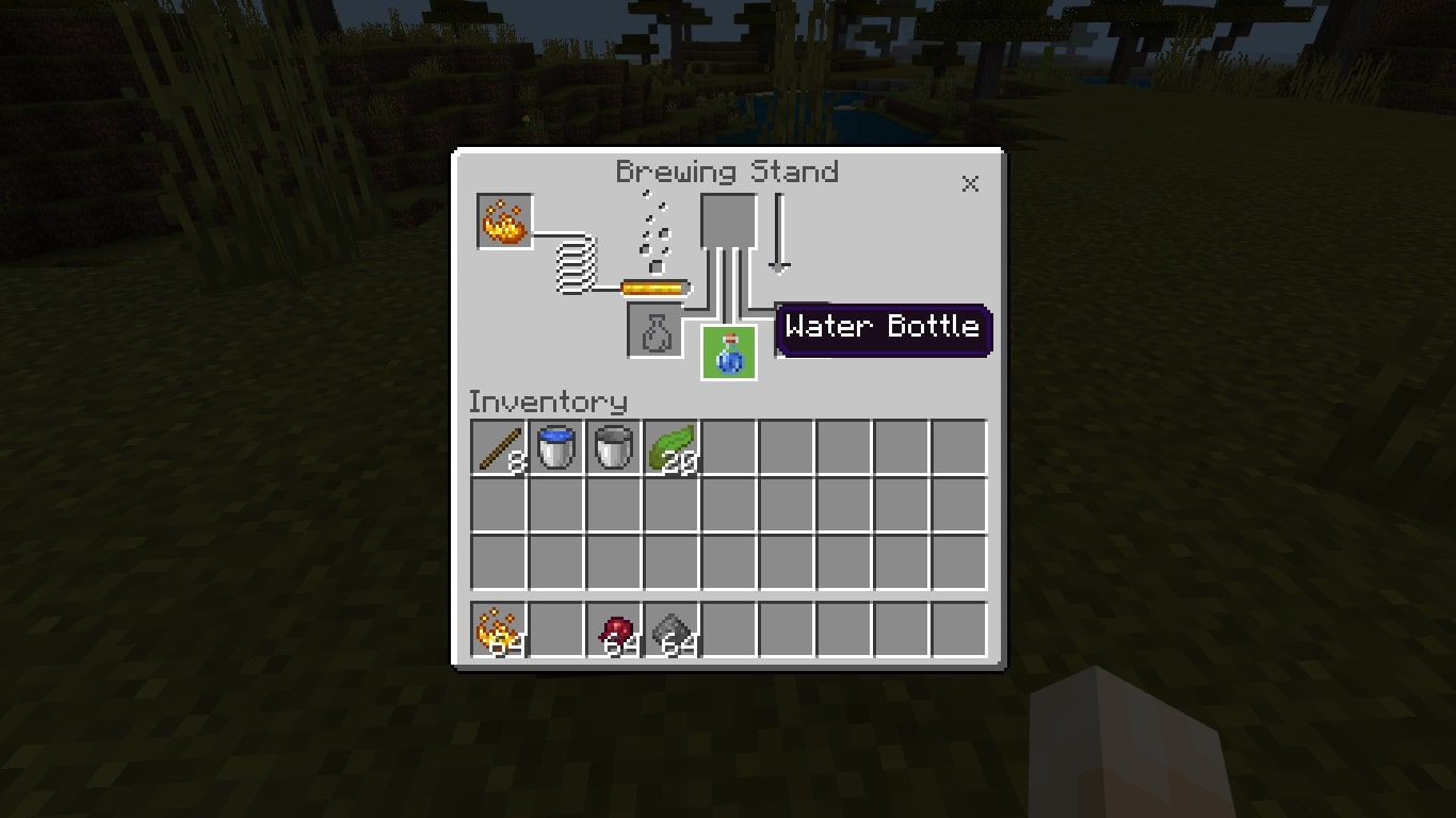 Add a Water Bottle in one of the bottom boxes in the brewing menu.