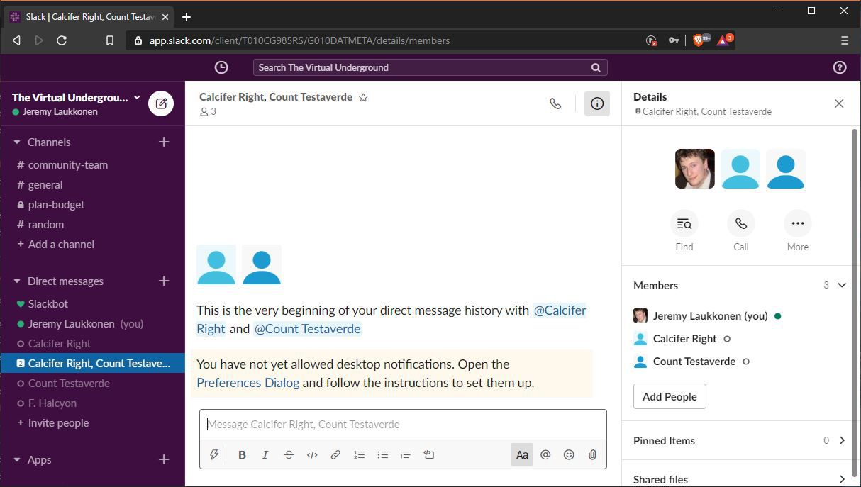A screenshot of a group direct message in Slack.