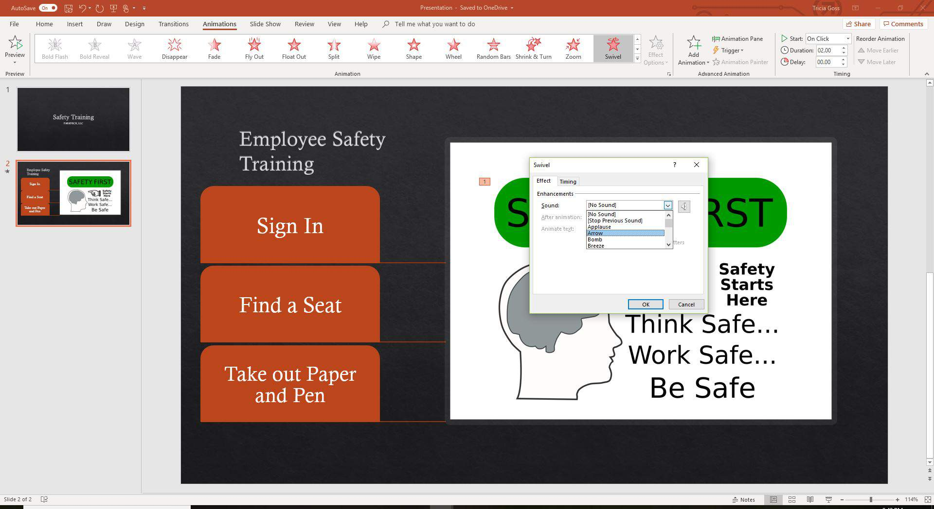A screenshot showing the Animation Effects in PowerPoint.