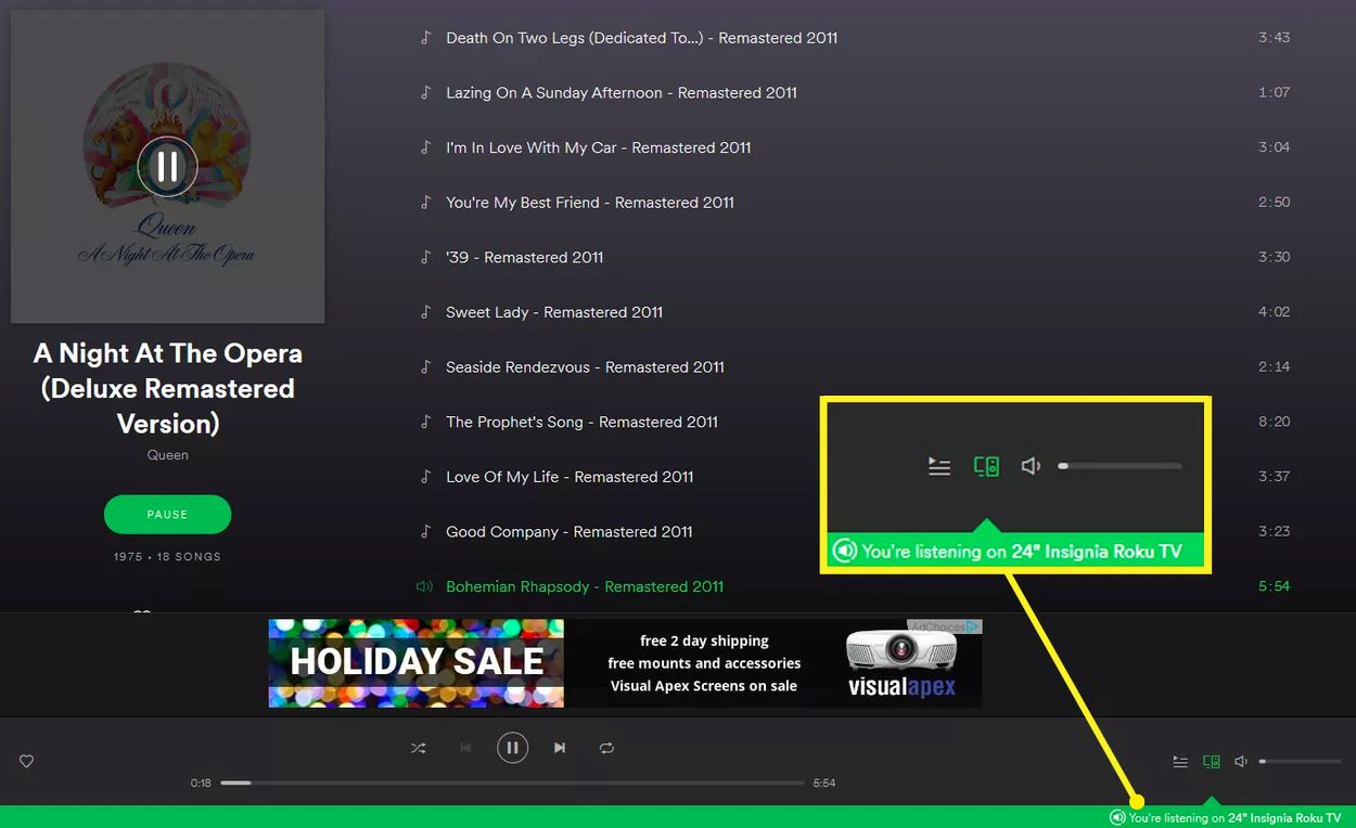 Spotify Web Player Green Bar Device Confirmation