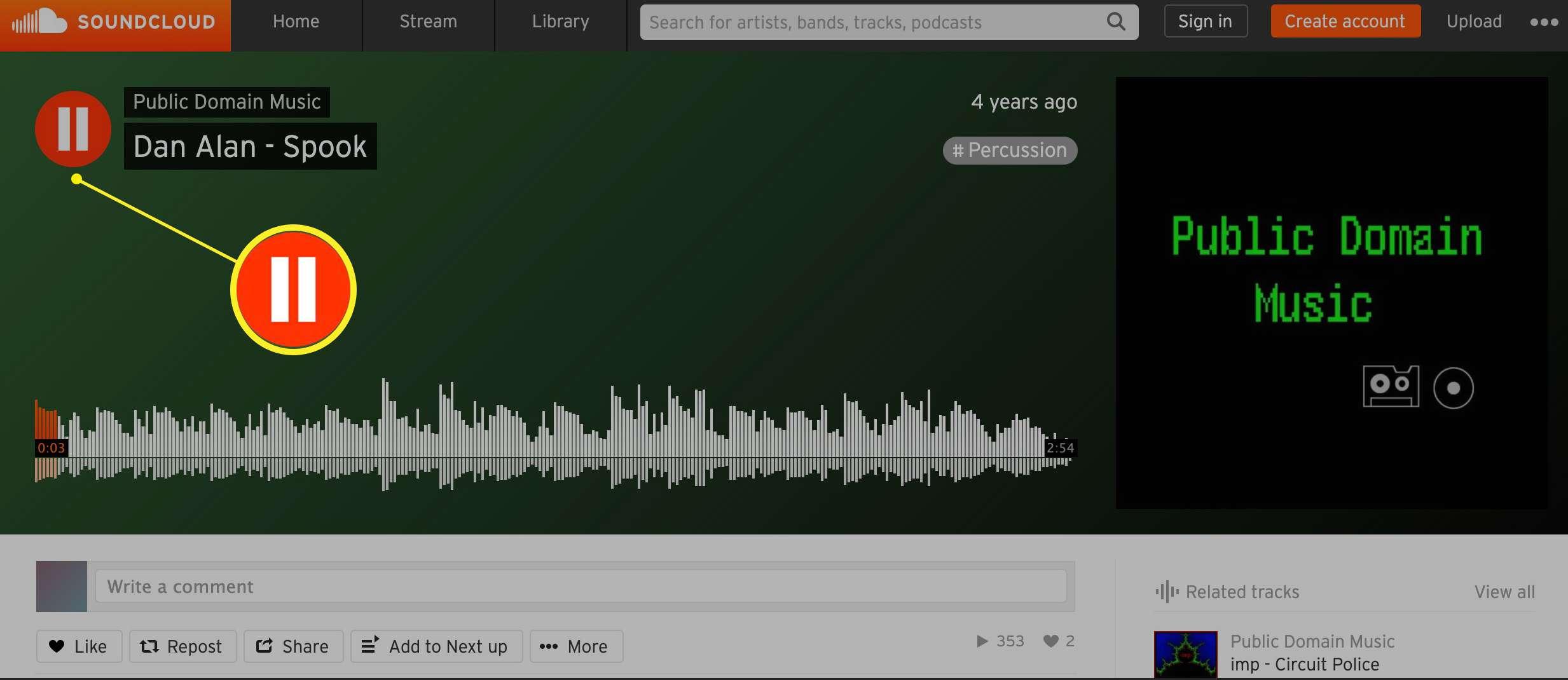 Soundcloud Pause button