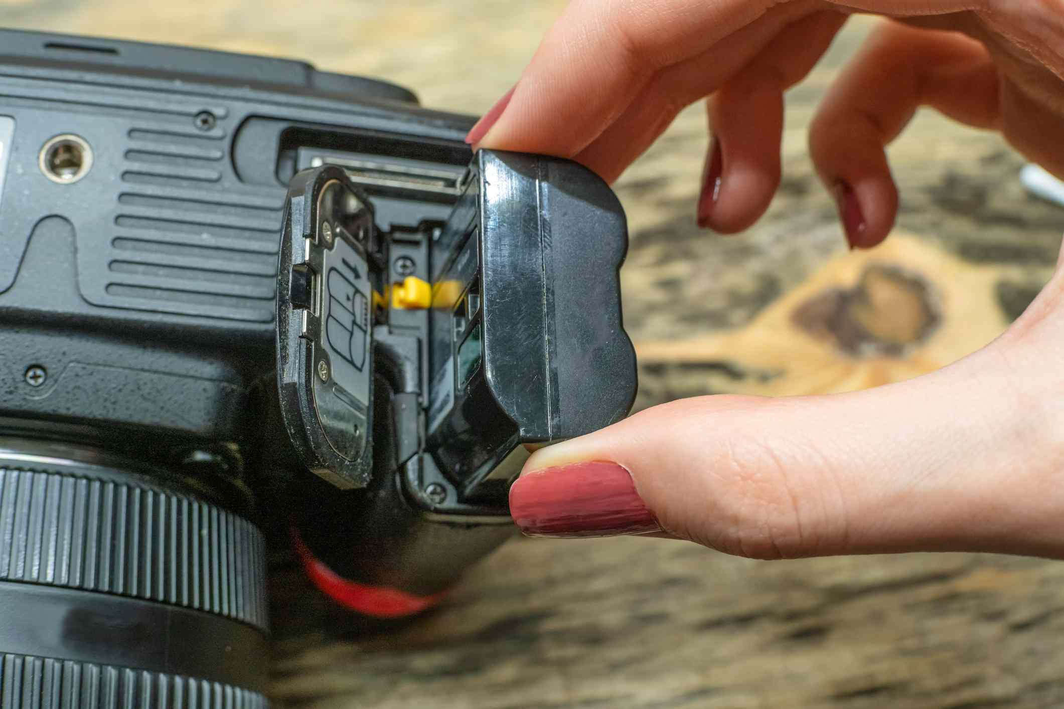 A battery in an SLR camera