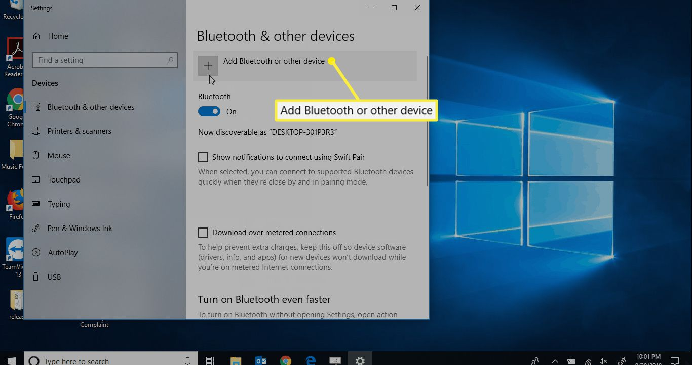 Bluetooth & other devices options on Windows