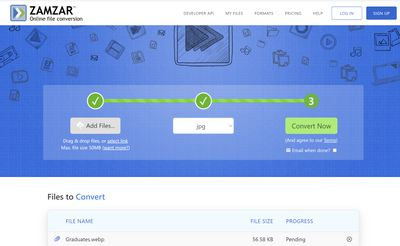 Zamzar online file conversion tool.