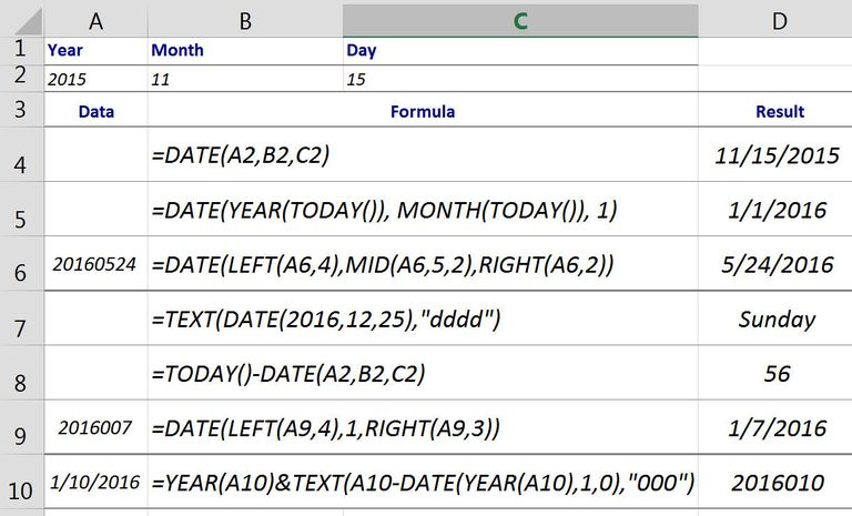 Excel DATE Function