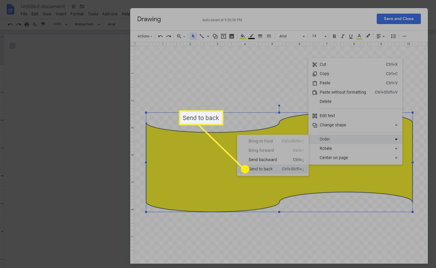 How to send a shape to the background in the Google Docs drawing feature.