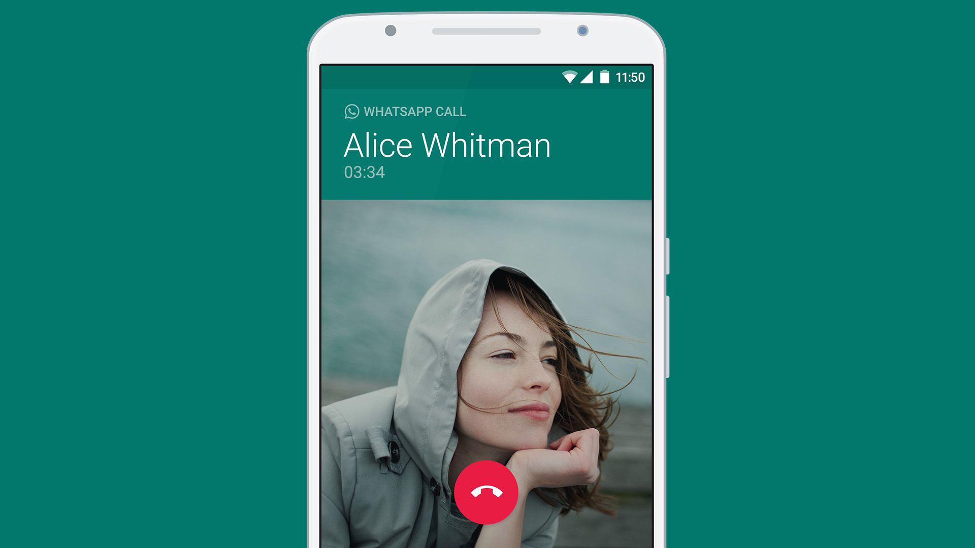 WhatsApp incoming voice call screen