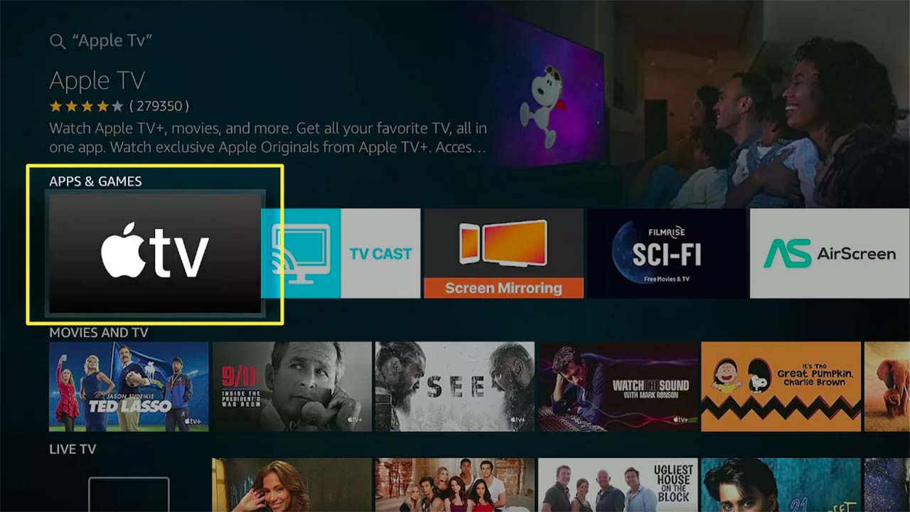 Apple TV highlighted in Fire TV search results.