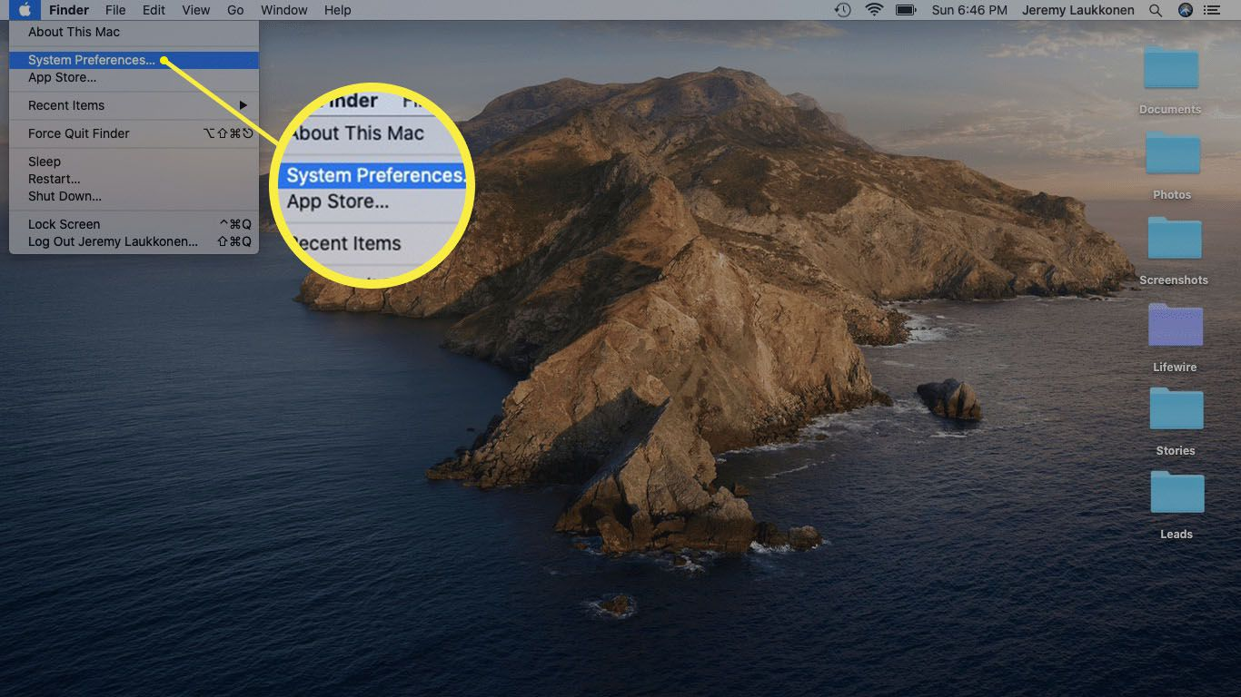 A screenshot of the Apple menu on a Mac.