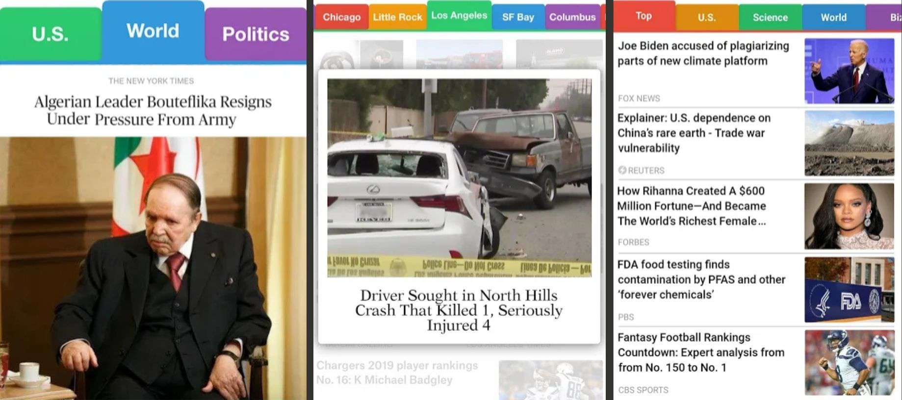 Three screenshots of SmartNews for Android.