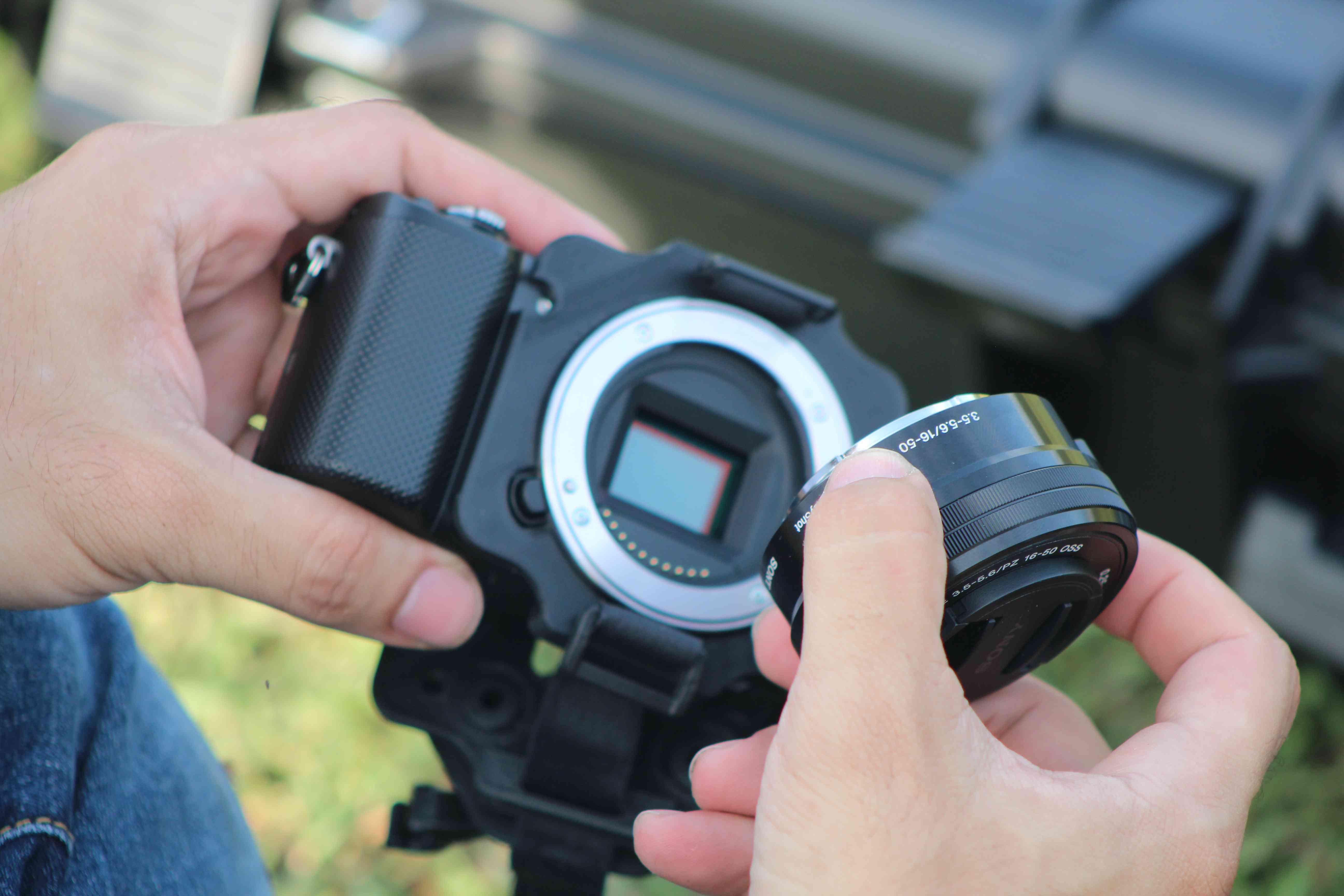 The image sensor behind the lens of a DSLR camera