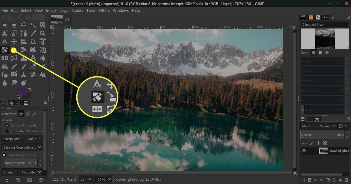 Rotate Images In Gimp With The Rotate Tool And Options