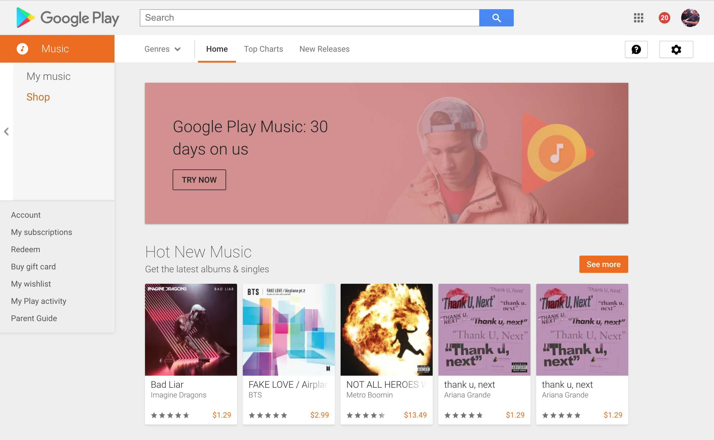 find free music on google play