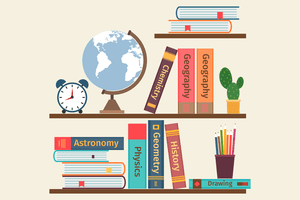 Textbooks, a globe, and a clock on shelves