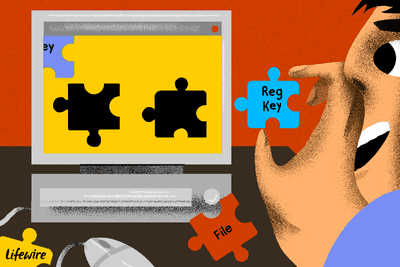 Illustration of a person placing puzzle pieces (reg key, file) onto a computer screen