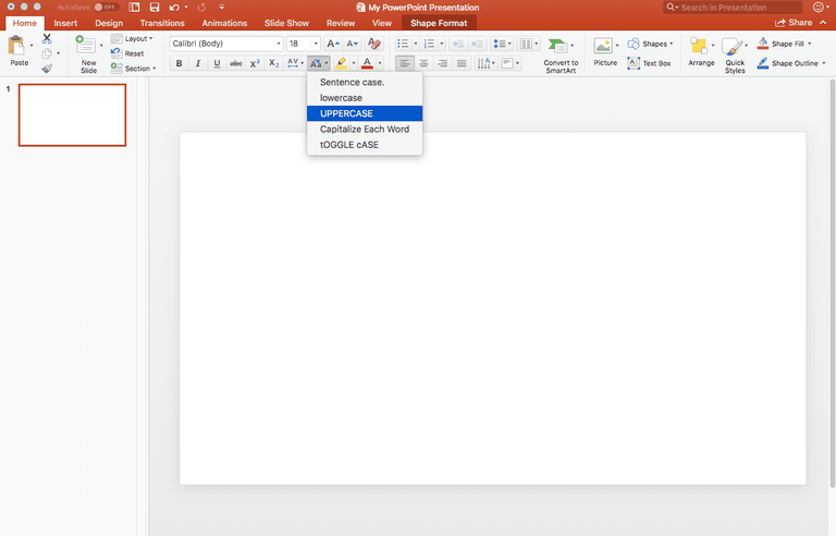 change text case in powerpoint presentations