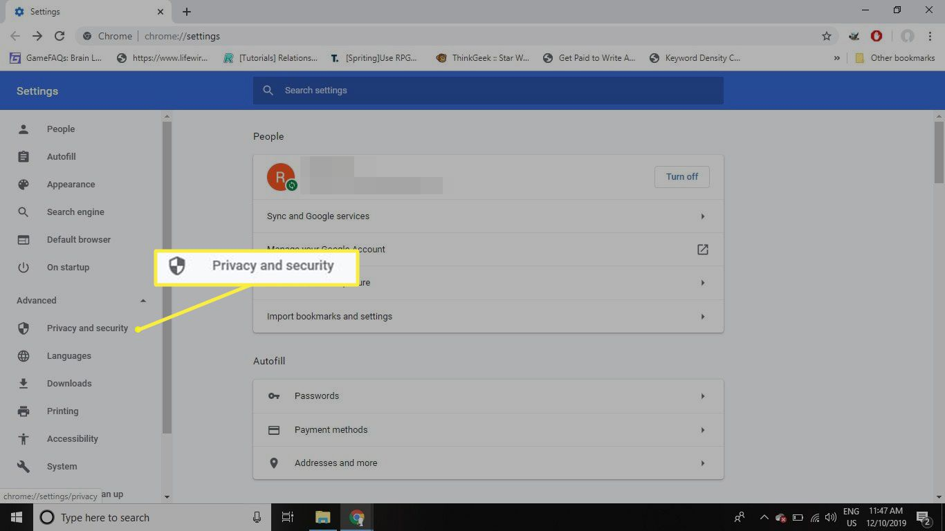 Chrome privacy & security settings