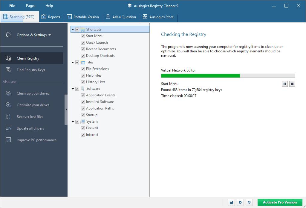 Screenshot of Auslogics Registry Cleaner version 9 in Windows 10