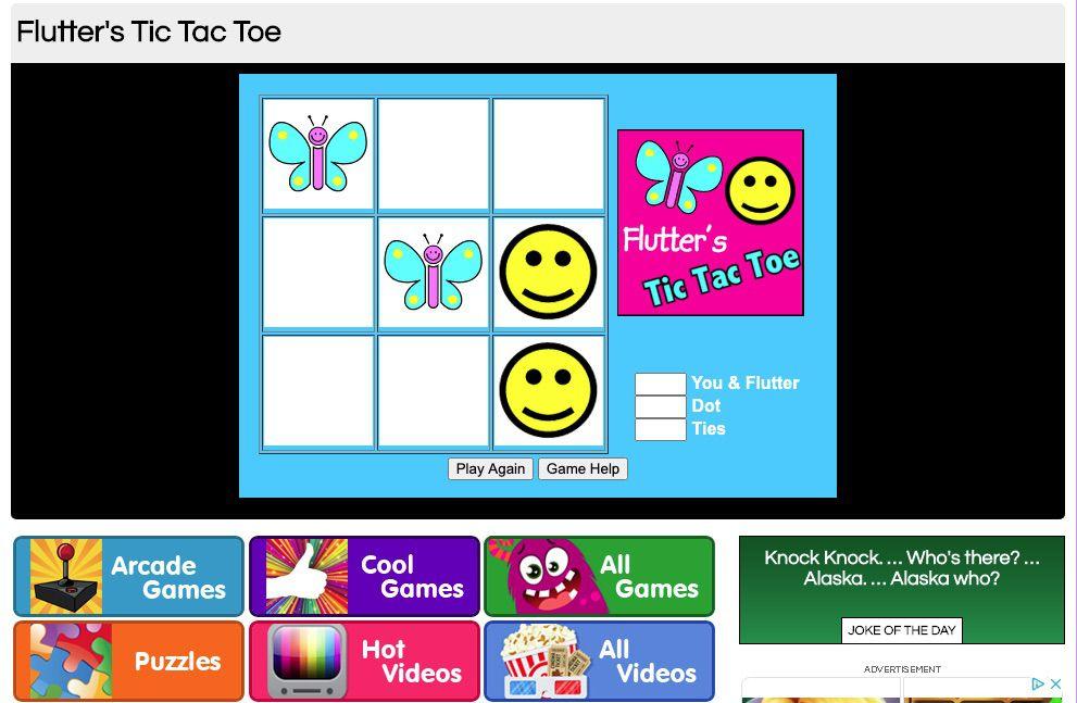 Flutter's Tic Tac Toe Environmental game for kids